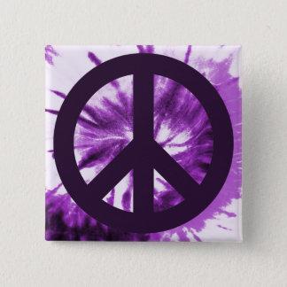 Purpurfärgad Tie-Färg med fredsymbol Standard Kanpp Fyrkantig 5.1 Cm