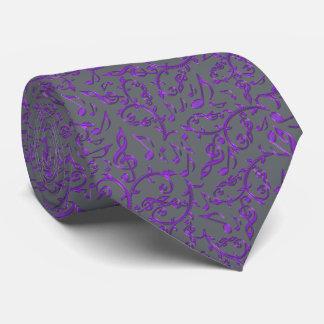 Purpurfärgad Tie för musik noteranpassadefärg Slips