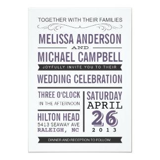 Purpurfärgad typografibröllopinbjudan 12,7 x 17,8 cm inbjudningskort