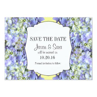 Purpurfärgad vanlig hortensiaspara datum 12,7 x 17,8 cm inbjudningskort