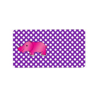 Purpurfärgad vitpolka dots för rosa noshörning adressetikett