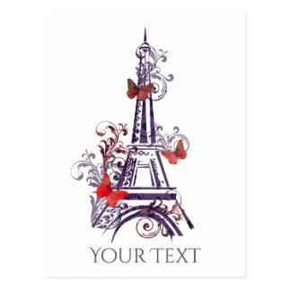 Purpurfärgad vykort för Eiffel tornfjärilar