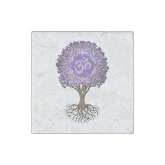 Purpurfärgad YogaOm-livets träd Stenmagnet