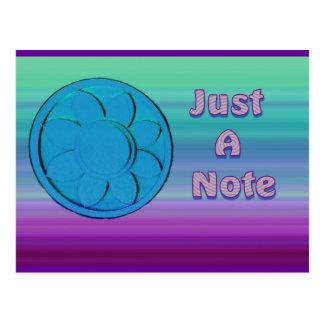 purpurfärgade blått precis en notera vykort