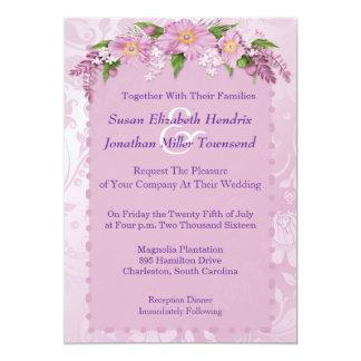 Purpurfärgade blom- bröllopinbjudningar 12,7 x 17,8 cm inbjudningskort