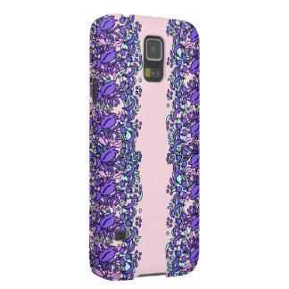 Purpurfärgade blom- mobilt fodral för sjaldesign 2 galaxy s5 fodral
