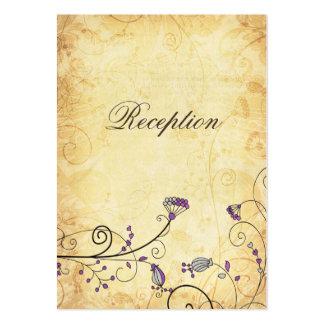 purpurfärgade blom- mottagandekort för lantlig vin set av breda visitkort