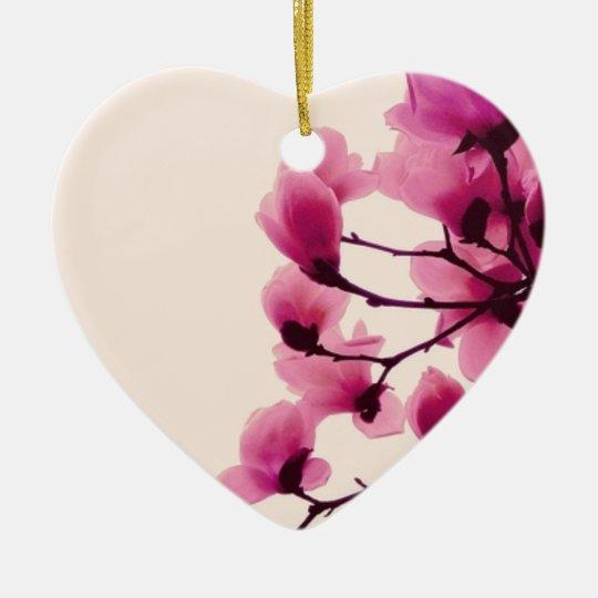 Purpurfärgade blommar hjärtformad julgransprydnad i keramik