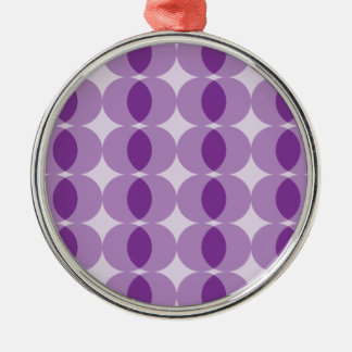 Purpurfärgade bollar rund silverfärgad julgransprydnad