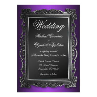 Purpurfärgade bröllopinbjudningar för gotisk ram 12,7 x 17,8 cm inbjudningskort