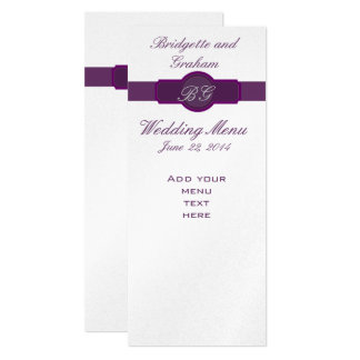 Purpurfärgade bröllopmenykort på silverpapper 10,2 x 23,5 cm inbjudningskort