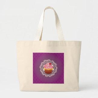 Purpurfärgade Doilies och muffin Tygkasse