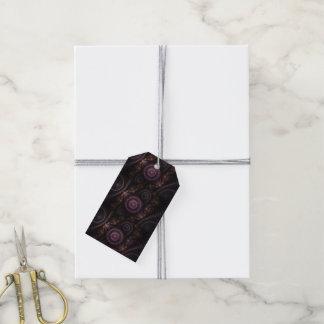 purpurfärgade fractalgåvamärkre presentetikett