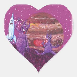 Purpurfärgade hårigCyclops över Jupiter Hjärtformat Klistermärke