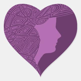 Purpurfärgade hjärtaklistermärkear för dam hjärtformat klistermärke
