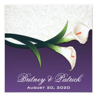 Purpurfärgade inbjudningar för bröllop för lilja