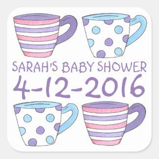 Purpurfärgade klistermärkear för baby shower för fyrkantigt klistermärke