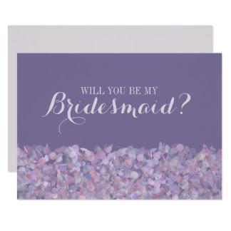 Purpurfärgade konfettiar ska dig är min brudtärna 12,7 x 17,8 cm inbjudningskort