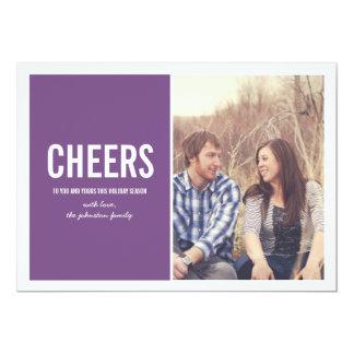 Purpurfärgade kort för julfotolägenhet 12,7 x 17,8 cm inbjudningskort