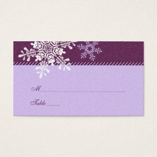Purpurfärgade kort för ställe för bröllop för