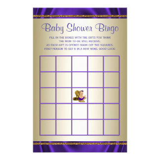 Purpurfärgade lekar för baby shower för baby reklamblad 14 x 21,5 cm