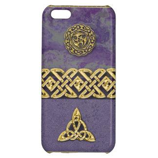 Purpurfärgade och metalliska guld- Celtic symboler iPhone 5C Skydd