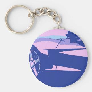 Purpurfärgade och rosa Corvette Rund Nyckelring