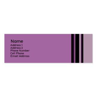 purpurfärgade randar set av smala visitkort