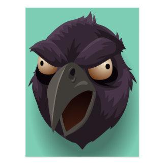 Purpurfärgade ravens huvud vykort