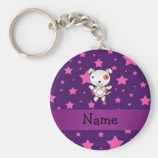 Purpurfärgade rosa stjärnor för personlignamnhund rund nyckelring