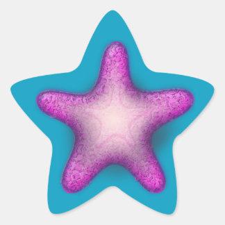 Purpurfärgade sjöstjärnaklistermärkear stjärnformat klistermärke