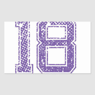 Purpurfärgade sportar Jerzee numrerar 18.png Rektangulärt Klistermärke