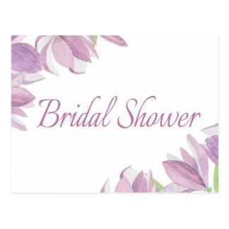 Purpurfärgade vattenfärgblommor för blom- möhippa vykort