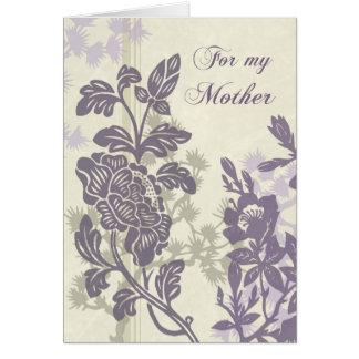 Purpurfärgat blom- kort för mammabröllopsdagtack