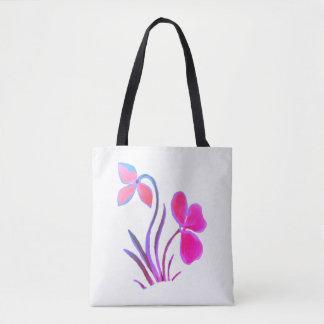 Purpurfärgat blom- motiv för blått tygkasse