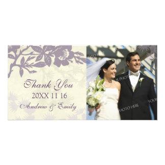 Purpurfärgat blom- tack som gifta sig fotokort