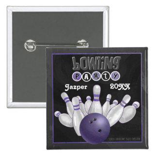 Purpurfärgat bowlingparty standard kanpp fyrkantig 5.1 cm