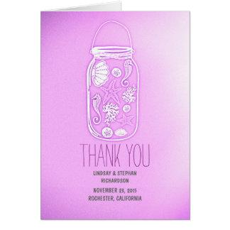 purpurfärgat bröllop för snäckskalmasonburken OBS kort