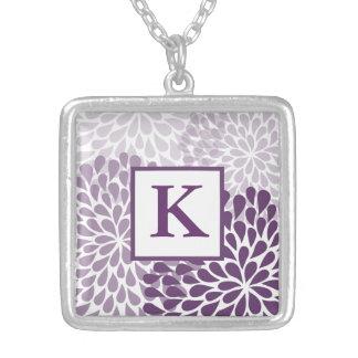 Purpurfärgat Chrysanthemumhalsband Silverpläterat Halsband