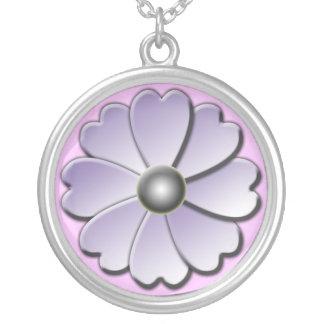 purpurfärgat daisysilverhalsband silverpläterat halsband