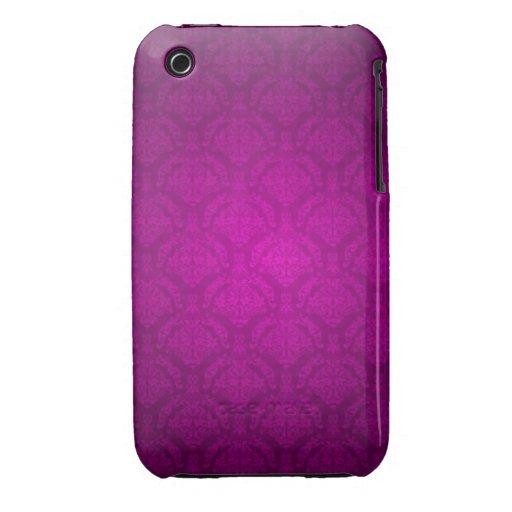 Purpurfärgat damastast designblackberry curvefodra iPhone 3 Case-Mate fodraler