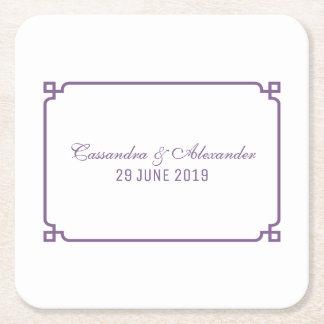 Purpurfärgat Deco chic bröllop Underlägg Papper Kvadrat
