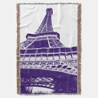Purpurfärgat Eiffel torn Filt