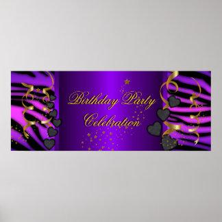 Purpurfärgat firande för sebrabanerfödelsedagsfest poster