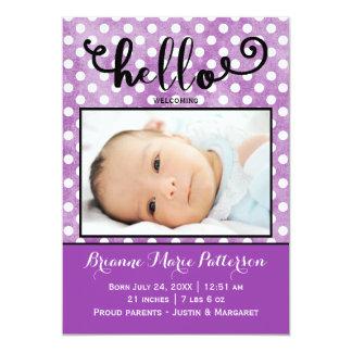 purpurfärgat foto för hejer - födelsemeddelande 12,7 x 17,8 cm inbjudningskort