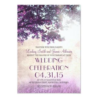 Purpurfärgat gammalt oakträd & love 12,7 x 17,8 cm inbjudningskort