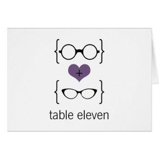 Purpurfärgat Geeky exponeringsglasbordsnummerkort Hälsningskort