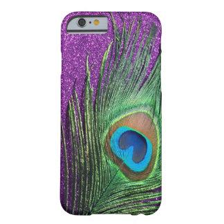 Purpurfärgat Glittery påfågelfjäderstilleben Barely There iPhone 6 Skal