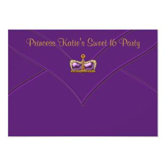 Purpurfärgat guld- party för Princess Kröna Sötsak 12,7 X 17,8 Cm Inbjudningskort