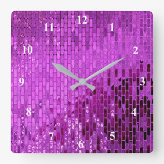 Purpurfärgat kvarterShimmermönster Fyrkantig Klocka